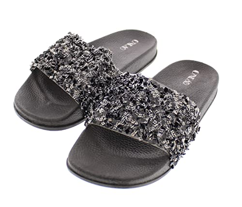 f44166fff52e Sanaa Womens Sparkle Slide Sandals Slip On