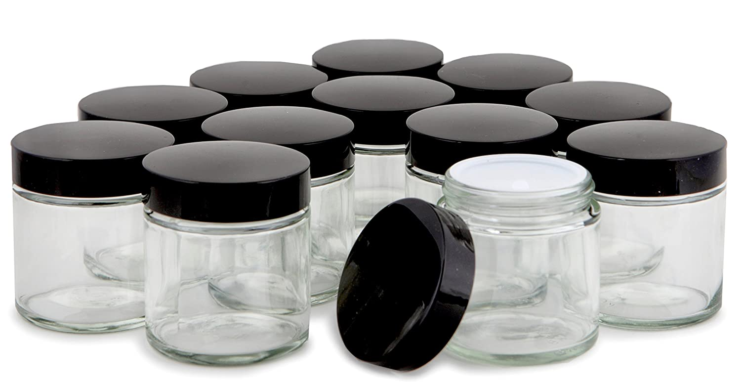 Vivaplex, 12, Clear, 4 oz, Round Glass Jars, with Inner Liners and black Lids