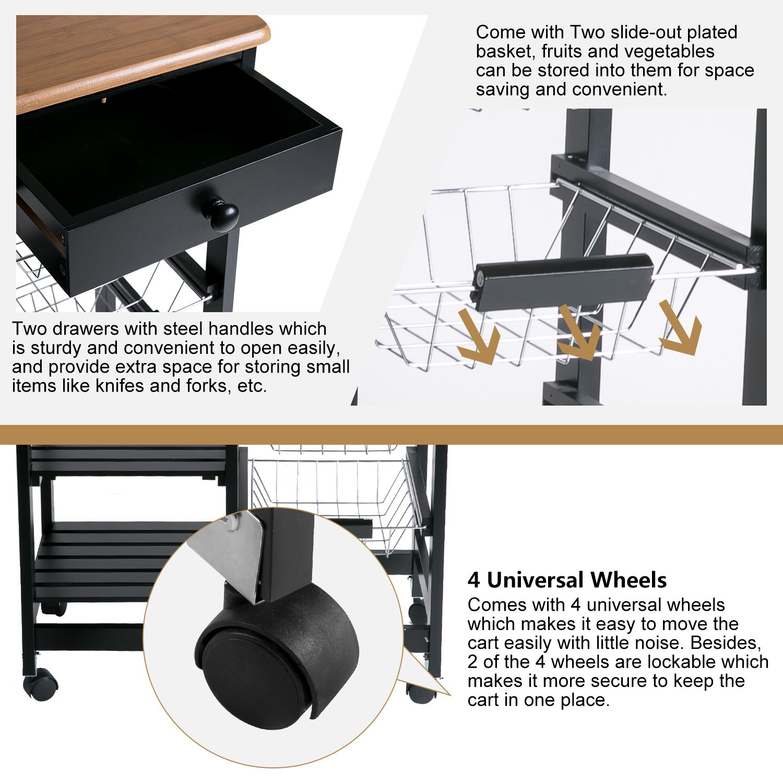 Merax WF036471BAA 26'' Portable Storage Island Kitchen Trolley Drawers, Microwave Cart, Black by Merax (Image #6)