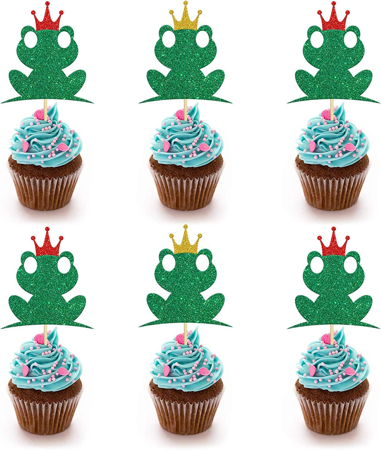24PCS Glitter Frog Cupcake Toppers, Princess Frog Food Picks, Gender Reveal/Kids Birthday Party Decoration Supplies