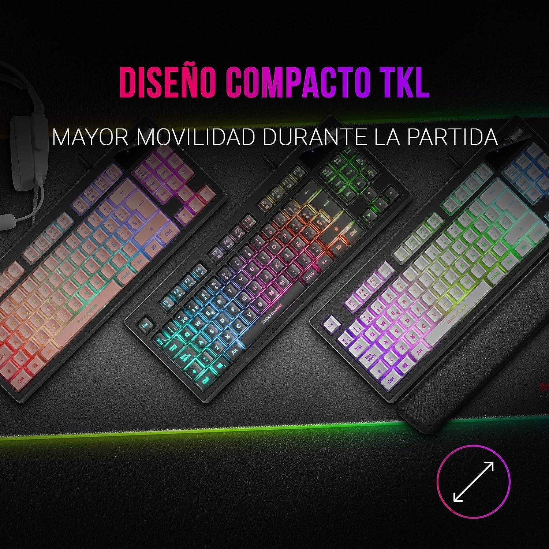 MARSGAMING MKAX Rosa, Teclado Gaming TKL H-Mech, Reposamuñecas Gel, Layout ESP