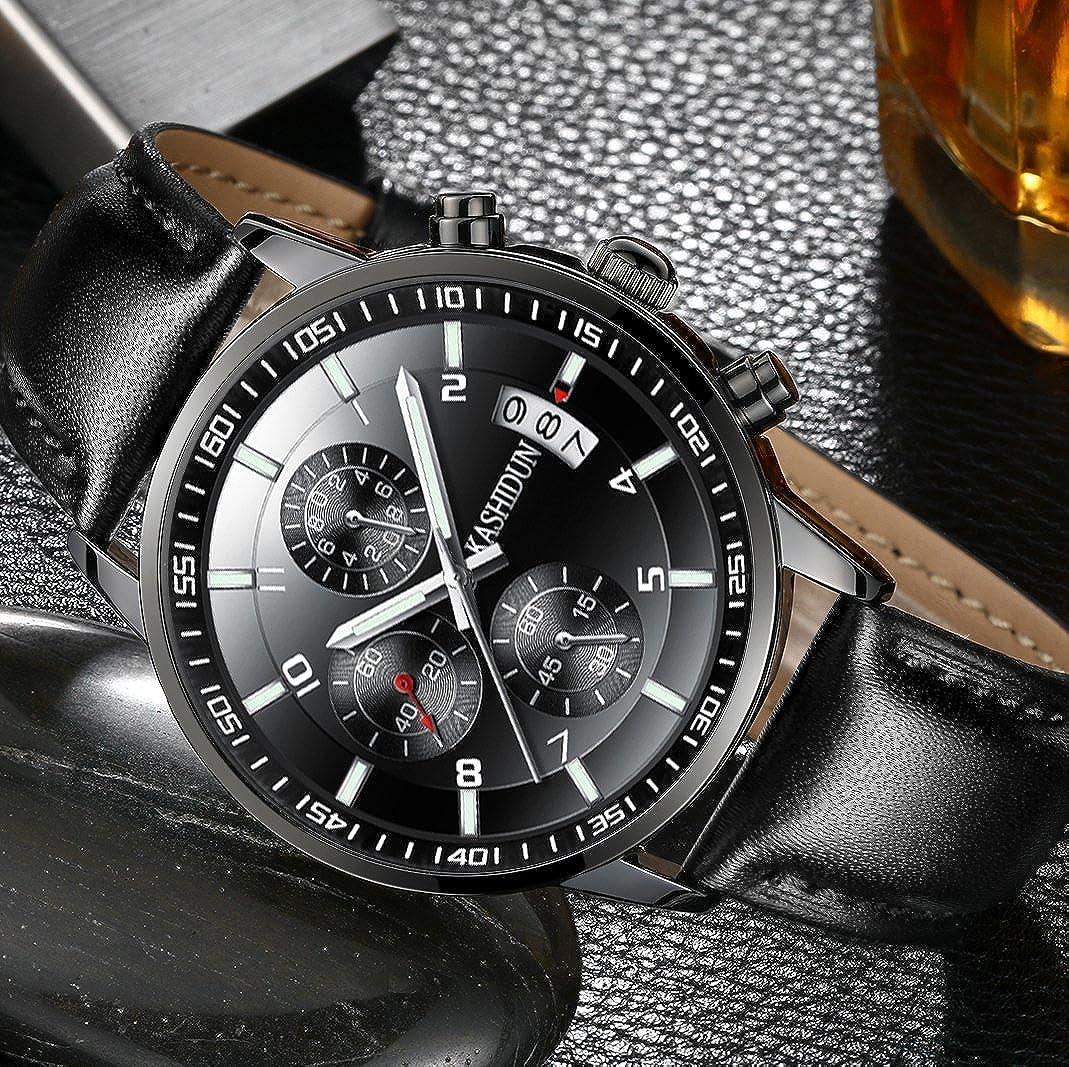 Amazon.com: KASHIDUN Mens Watches Sports Military Quartz Wristwatches Waterproof Chronograph Genuine Leather Strap Black Color 998-QHP: Watches