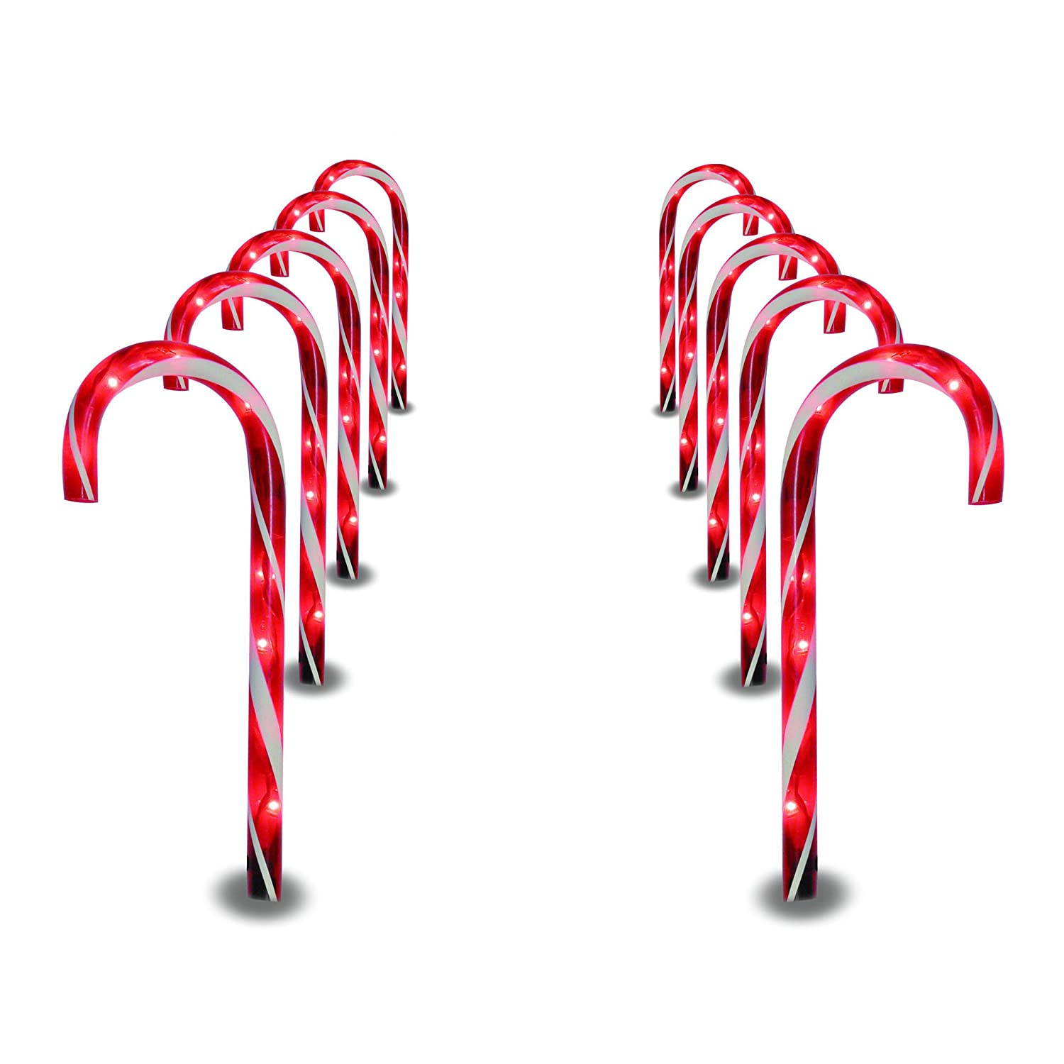 amazoncom prextex christmas candy cane pathway markers set of 10 christmas indooroutdoor decoration lights garden outdoor - Christmas Candy Canes