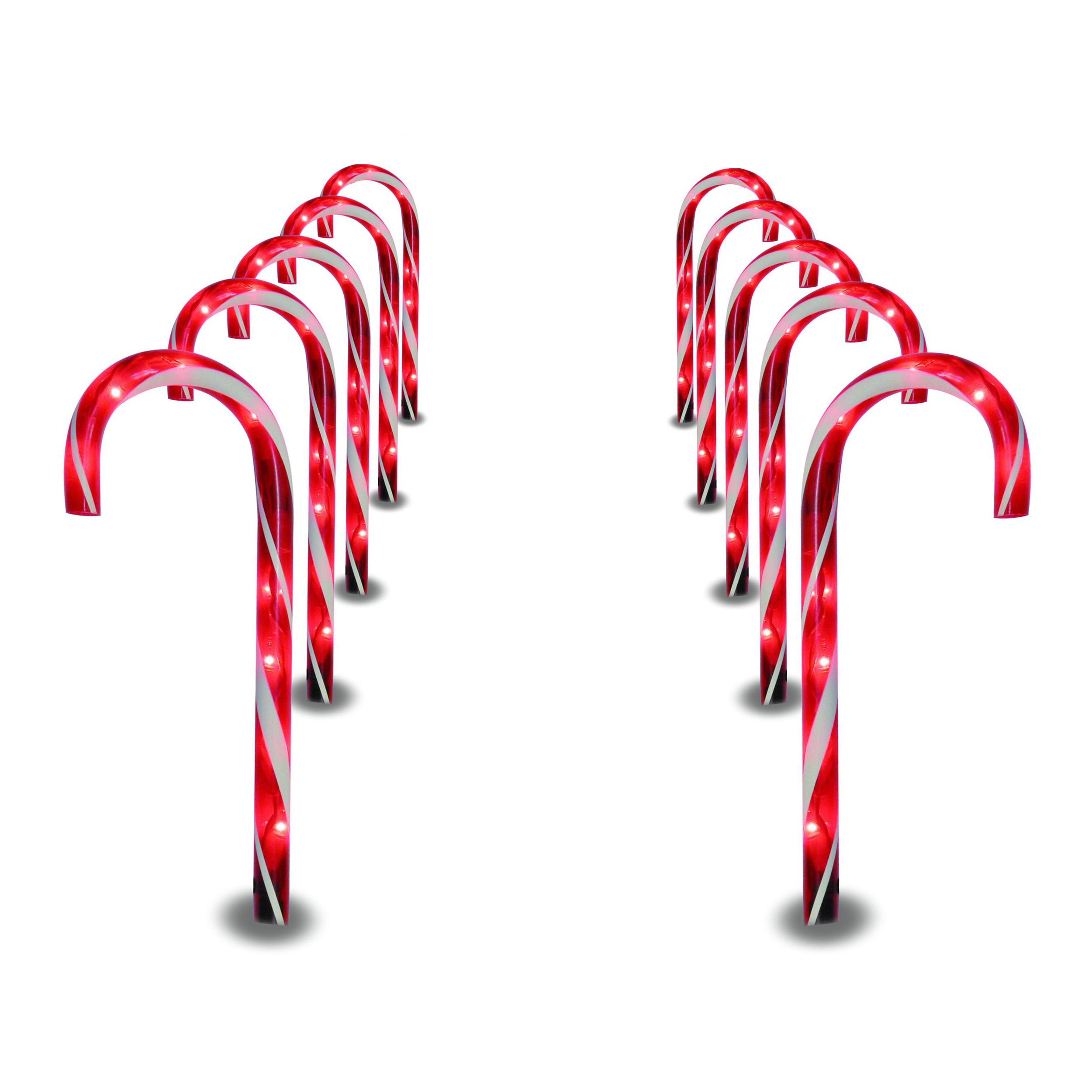 Prextex Christmas Candy Cane Pathway Markers Set of 10 Christmas Indoor/Outdoor Decoration Lights by Prextex