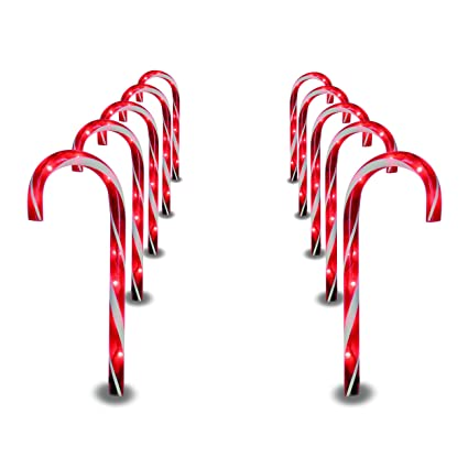 prextex christmas candy cane pathway markers set of 10 christmas indooroutdoor decoration lights