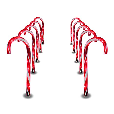 prextex christmas candy cane pathway markers set of 10 christmas indooroutdoor decoration lights - Christmas Pathway Decorations