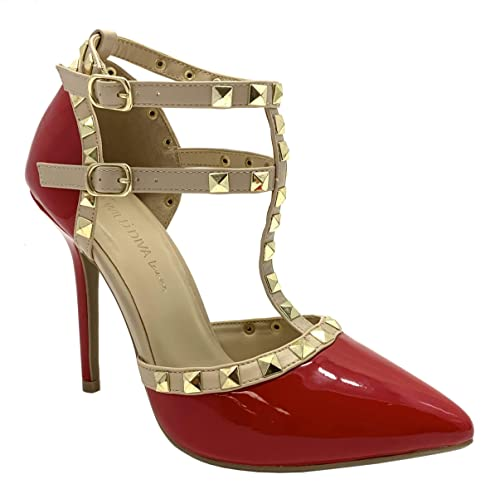 1289c34dfcdc8 Wild Diva Women Studded Ankle Straps Stiletto High Heel Pumps Red/Beige