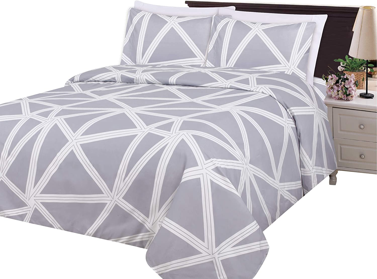Bamboo Living Ultra Soft Silky Deep Pocket Rich Printed Rayon from Bamboo All Season 6 Pieces Sheet Set with 4 Pillowcases, Triangle Geometric Pattern Queen Size