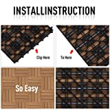 "Outsunny 12"" x 12"" HDPE Interlocking Composite Deck Tile 10 Pack"
