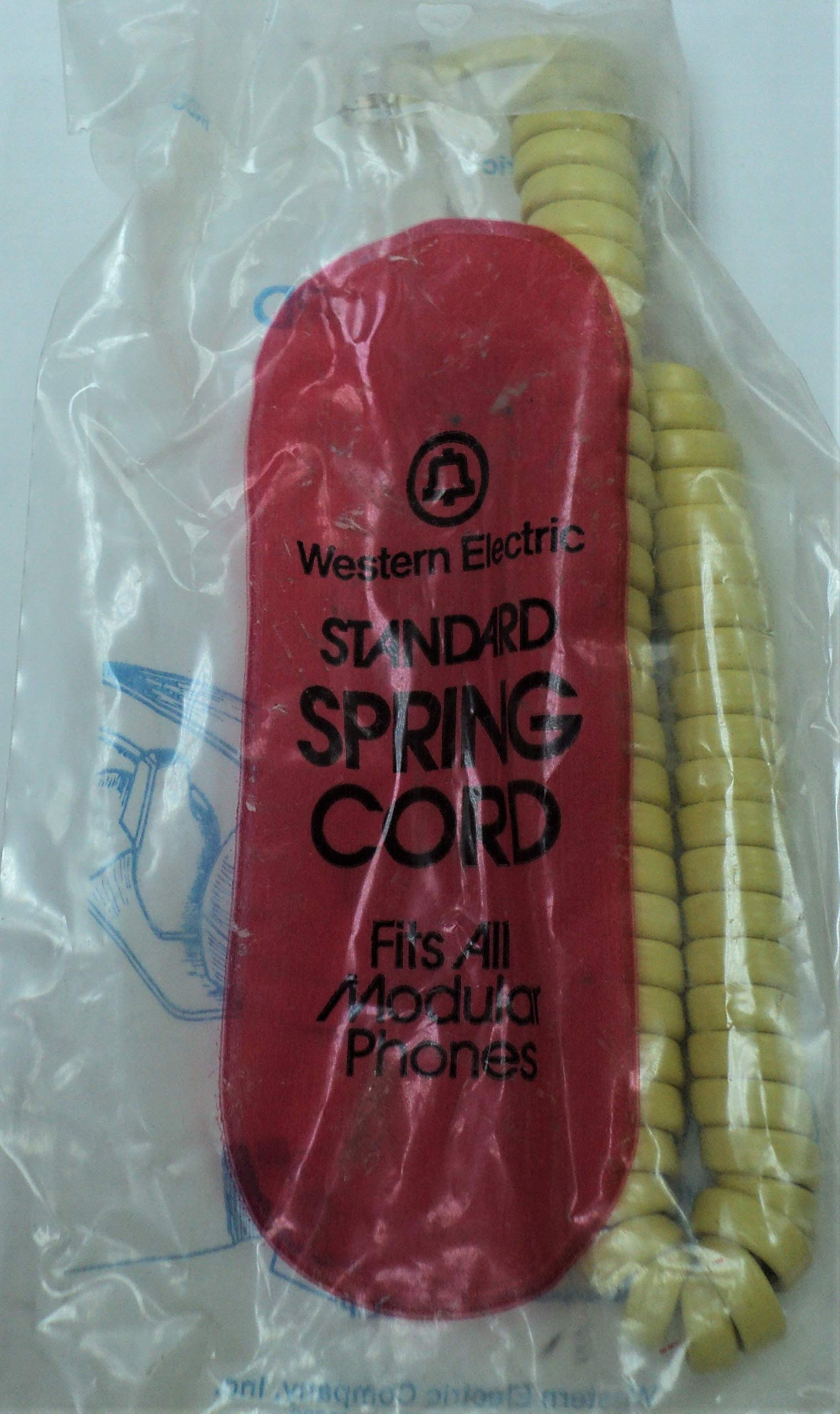 Western Electric H4DU 56 STD Yellow Handset Phone Coil Curly Receiver Cord 102402591 NOS Bell System