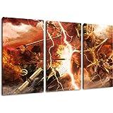 Attaque sur l'image Titan, 3 pièces sur toile (taille totale: 120x80 cm), art de haute qualité d'impression comme une fresque. Moins cher qu'une peinture à l'huile! ATTENTION NO affiche!
