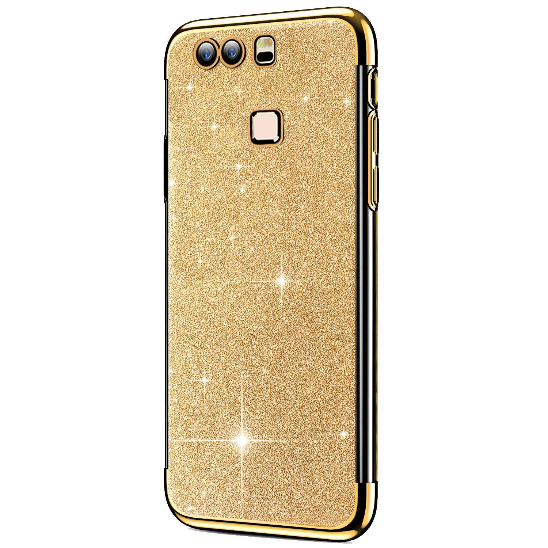 Felfy Coque Huawei P9 Plus,Huawei P9 Plus Coque en Silicone Glitter Paillettes Strass Brillante Housse Etui de Protection Souple TPU Couverture Ultra Fine Antichoc T/él/éphone Bumper Case,Rouge
