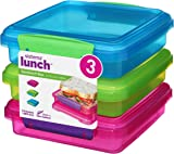 Sistema Lunch Sandwich Box, 450 ml Contrasting Clips, Pack of 3, Assorted Colours, 1.55 x 15 x 12.4 cm