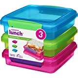 Sistema Lunch Collection Sandwich Box Food Storage Containers, 15.2 Ounce Rectangle, Assorted Solid Colors, 3 Pack