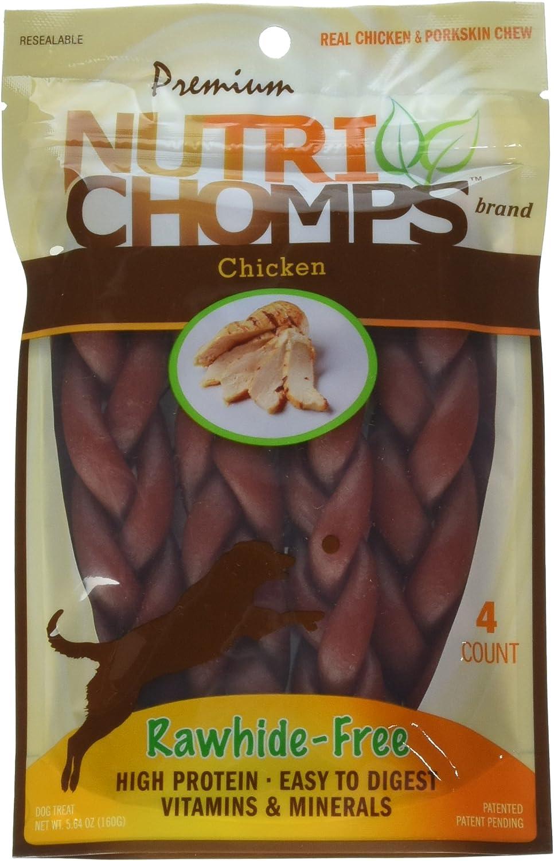 """Scott Pet Nt013 Nutri Chomps Braid Chicken Flavor Dog Chew (4 Count), 6"""""""