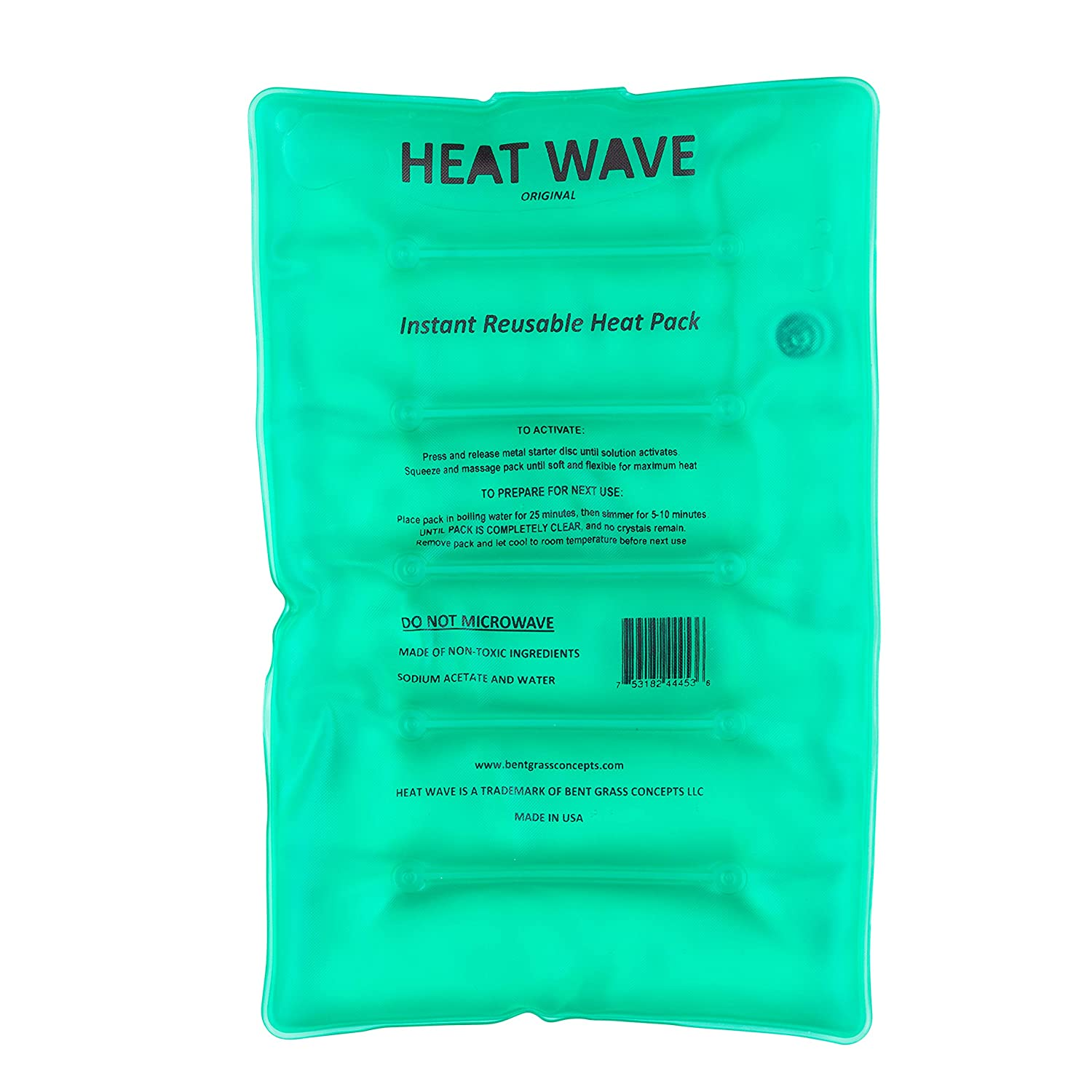 "HEAT WAVE Instant Reusable Heat Packs – Large (8x12""), Reusable Heat Pack for Muscle Aches, Back Pain, Pain Relief, Click Heat - Made in USA"