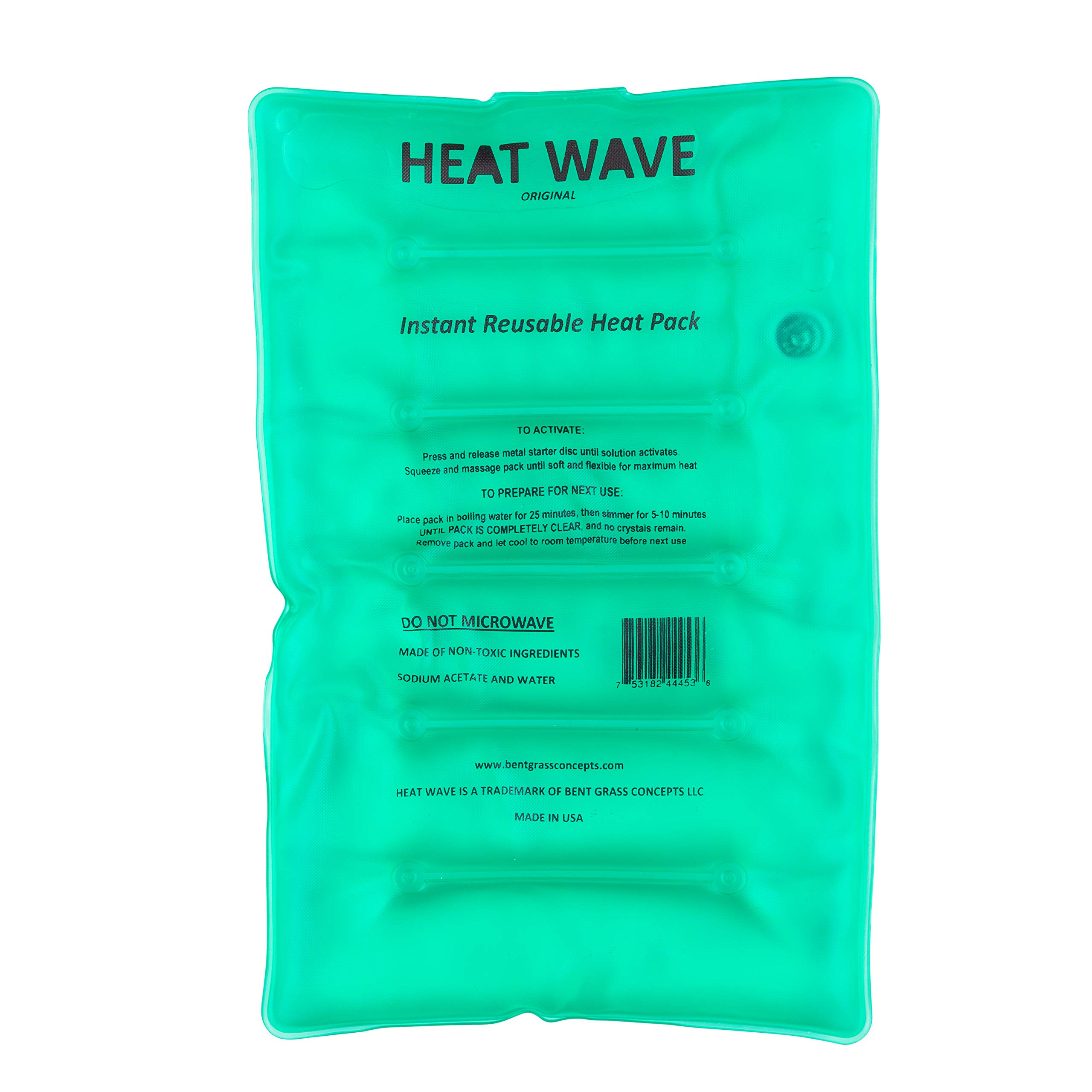 HEAT WAVE Instant Reusable Heat Packs - Large (8x12''), Reusable Heat Pack for Muscle Aches, Back Pain, Pain Relief, Click Heat - Made in USA by Heat Wave