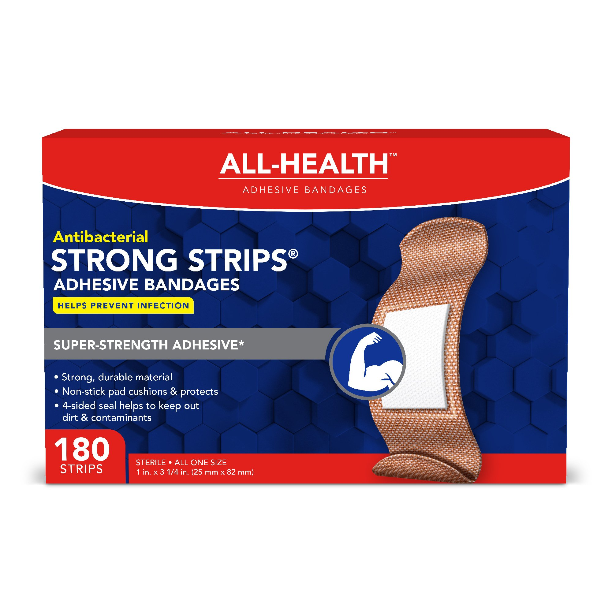 All Health Strong Strips Antibacterial Heavy-Duty Adhesive Bandages, 1 Inch (180 Count) by All Health