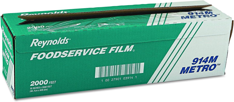 "Reynolds Wrap 914M Metro Light-Duty PVC Film Roll w/Cutter Box, 18"" x 2000ft, Clear"