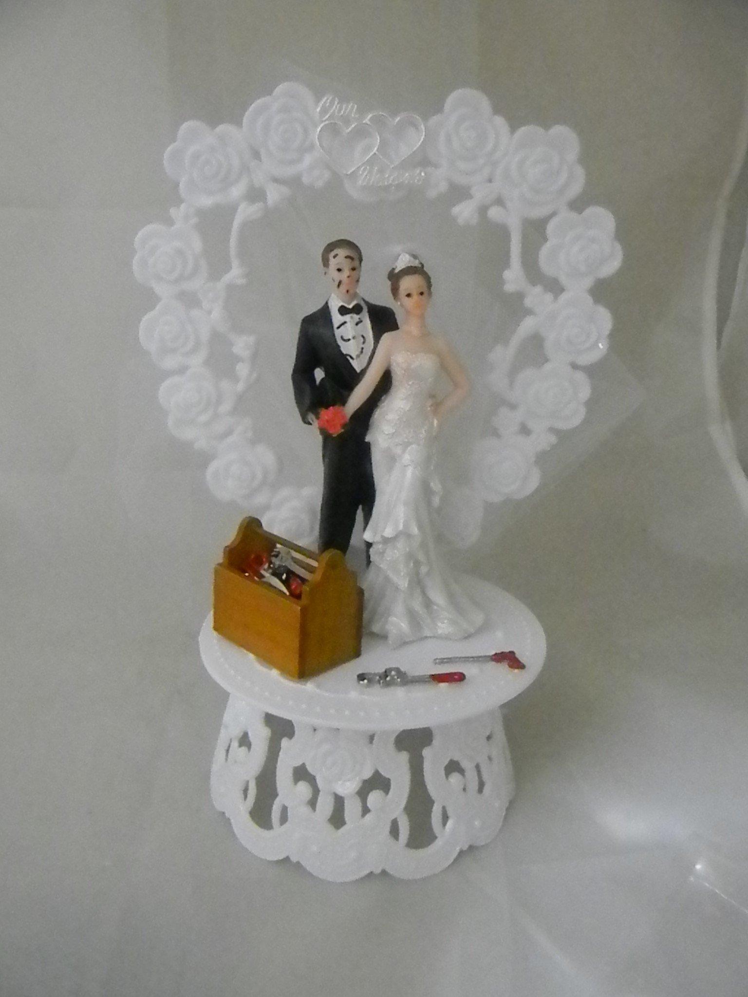 Wedding Reception Bride Groom Garage Mechanic tool grease Cake Topper