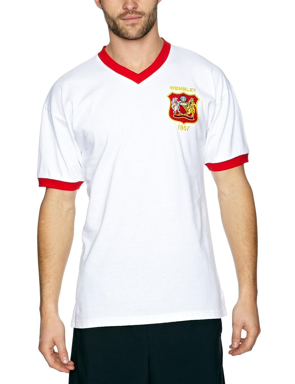 82527e400 Score Draw Official Retro Manchester United 1957 FA Cup Final Men s Retro  Football Shirt - White