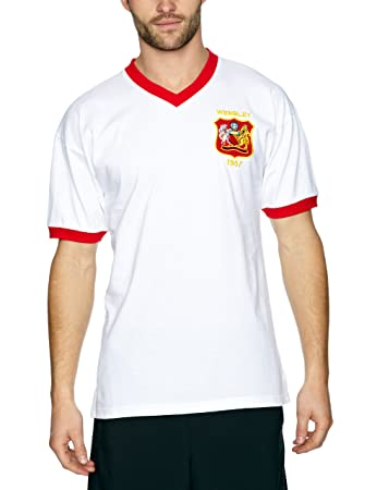 a1d023ee3 Score Draw Official Retro Manchester United 1957 FA Cup Final Men s Retro  Football Shirt - White