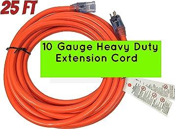 25 Ft 10 Gauge Extension Cord Heavy Duty Grounded Lit End UL 10//3 Gauge Feet
