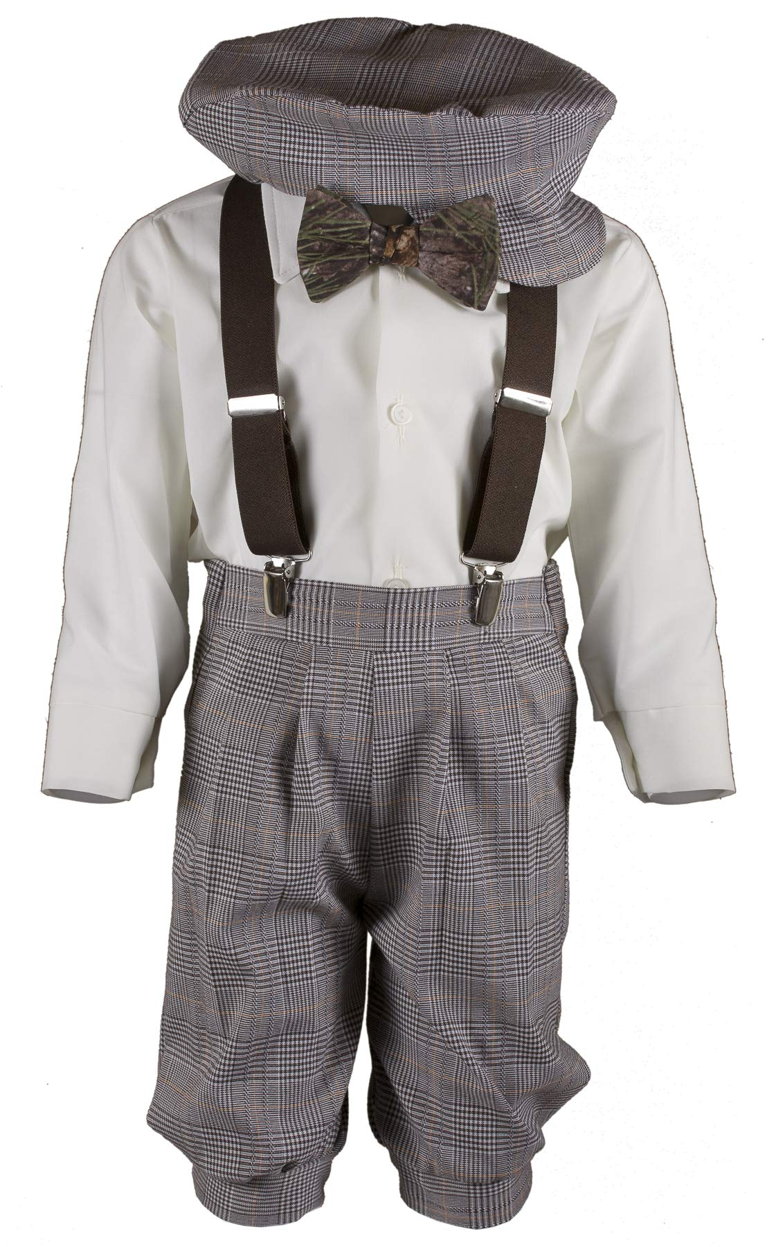 Boys Tan Plaid Knickers Pageboy Cap with Camouflage Bow Tie & Brown Suspenders (3T)