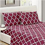 Mellanni Bed Sheet Set Twin-Burgundy - Brushed