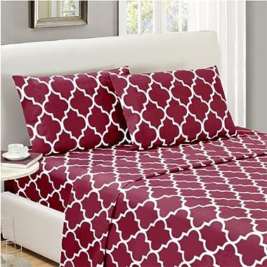 Mellanni Bed Sheet Set Full-Burgundy Brushed Microfiber Printed Bedding - Deep Pocket, Wrinkle, Fade, Stain Resistant - Hypoallergenic - 4 Piece (Full, Quatrefoil Burgundy - Red)