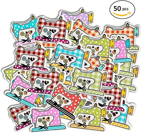 Molie 50pcs DIY Botones de dibujos animados máquina de coser forma ...
