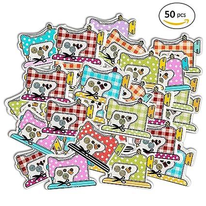Molie 50pcs DIY Botones de dibujos animados máquina de coser forma pintado DIY manualidades, delicada