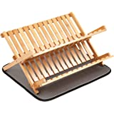 Finnhomy 2 Levels Natural Bamboo Folding Dish Rack w/ Drying Mat, Scissor Style,Light Wood Color