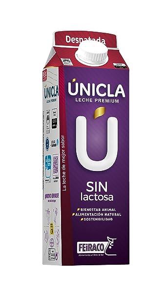 Únicla Leche UHT Desnatada sin Lactosa - Paquete de 6 x 1000 ml - Total: