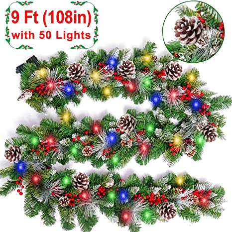 9 Foot Christmas Garland With Lights Christmas Decoration With 50 Colorful Led Lights 18 Pine Cones 20 Red Berries Xmas Wreath Decor Outdoor Indoor