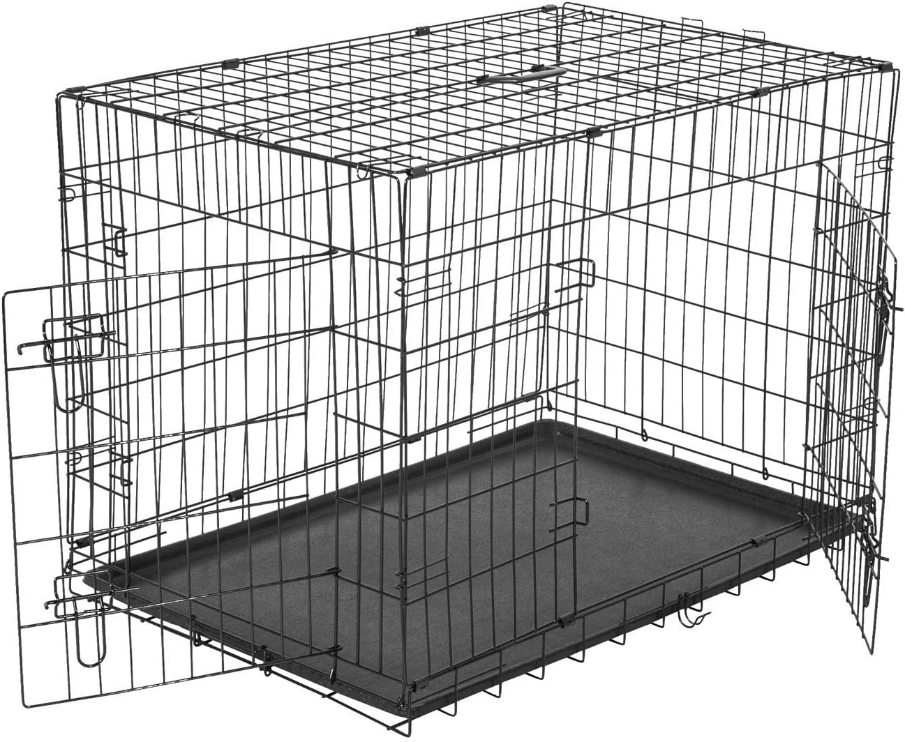 Transportin Perros 91x61x67 cm 2 Puertas Jaula con Asa Transporte Reja de Alambre de Hierro