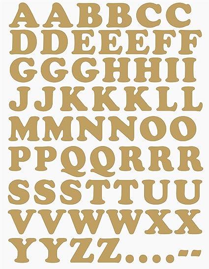 das-label Buchstaben Design NO.1 (Gross) | Gold Vinyl matt | Selbstklebende  gestanzte Klein- oder Großbuchstaben | zum Basteln Scrapbook | Sticker | ...