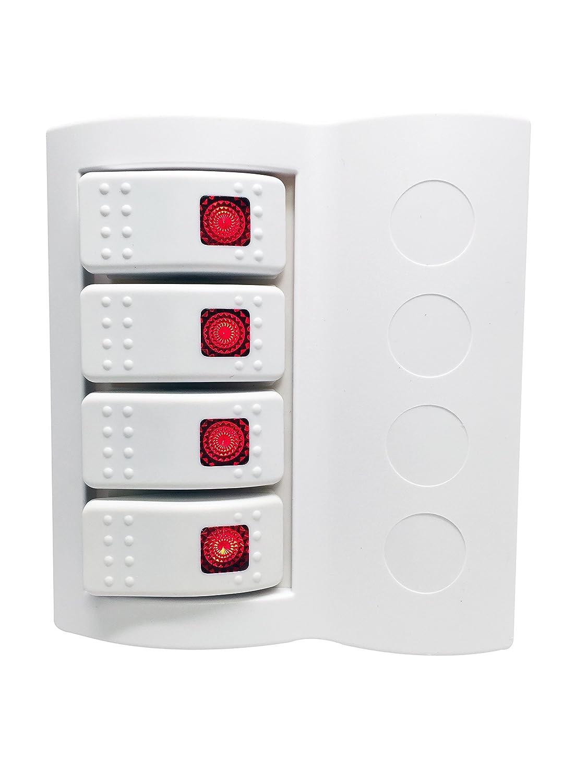 Pactrade Marine Boat Splashproof White Switch Panel 4 Gang Red LED Rocker Circuit Breaker