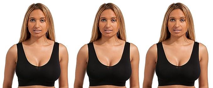 5dffe27de6657 Beauty Bra® 3 Pack Seamless Comfort Bra Women Girls Crop Top Seamless Sleep  in Yoga Bralette Leisure Stretch Sports Vest Wide Straps White Black ...