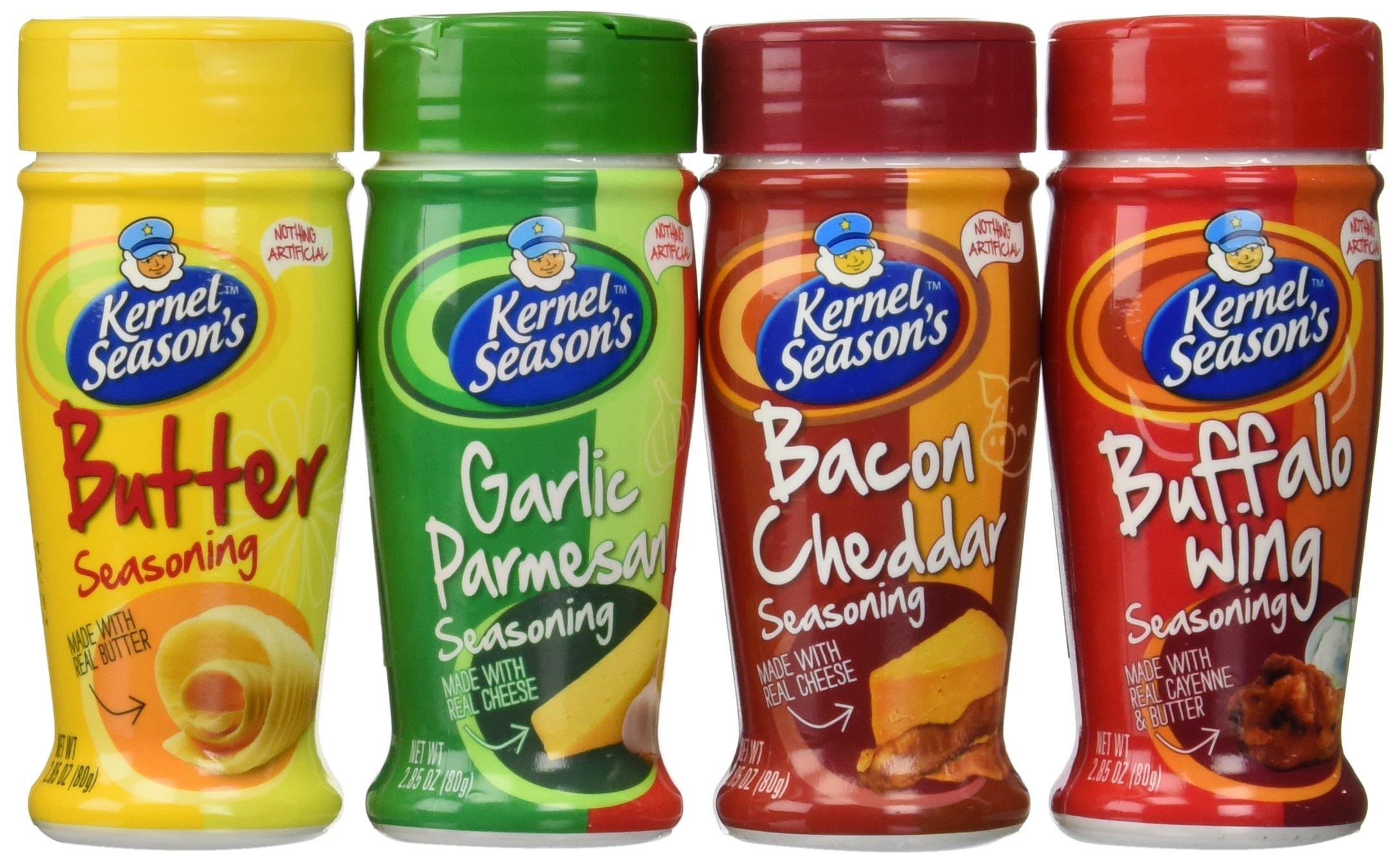 Kernal Season's Popcorn Seasoning 4 Flavor Variety Bundle: (1) Kernal Season's Butter Popcorn Seasoning, (1) Kernal Season's Garlic Parmesan Popcorn Seasoning, (1) Kernal Season's Buffalo Wing Popcorn Seasoning, and (1) Kernal Season's Bacon Cheddar Popco