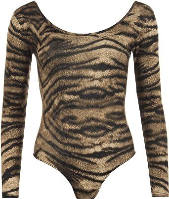 66d94eb55b8212 Ladies Plus Size Animal Print Bodysuit Womens Leopard Leotard Sleeve Top -  Tiger - 24/26: Amazon.co.uk: Clothing