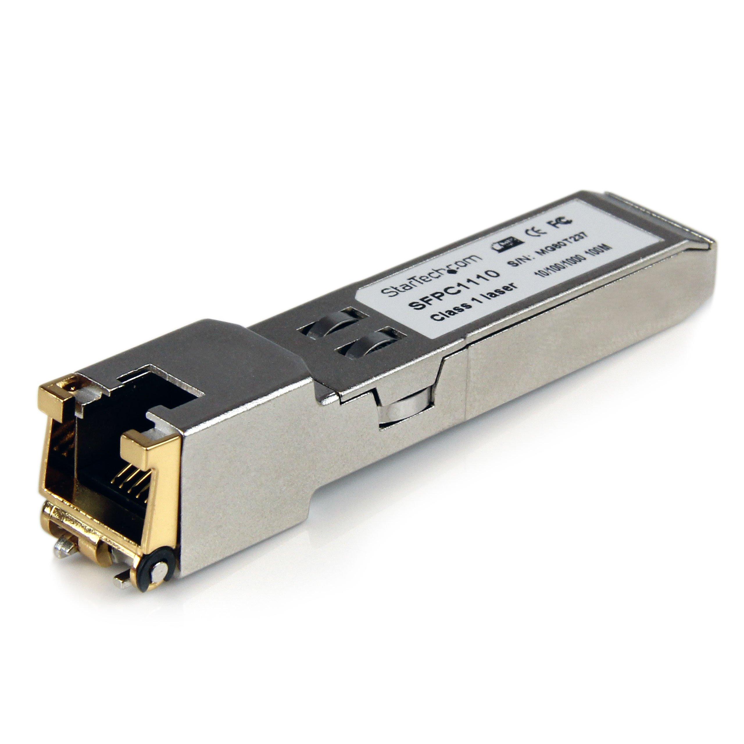 StarTech.com Cisco SFP-GE-T Compatible – Gigabit SFP – 10/100/1000 Mbps – RJ45 Port – 1000Base-T – Copper SFP – GBIC Module