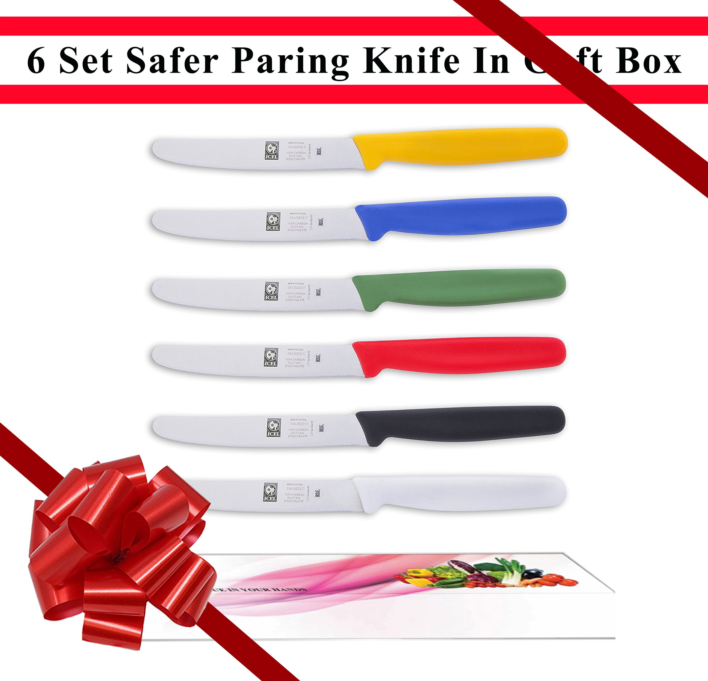 ICEL Classic Colour Collection, Colorful Safer Paring Knife Set. 6 Piece.