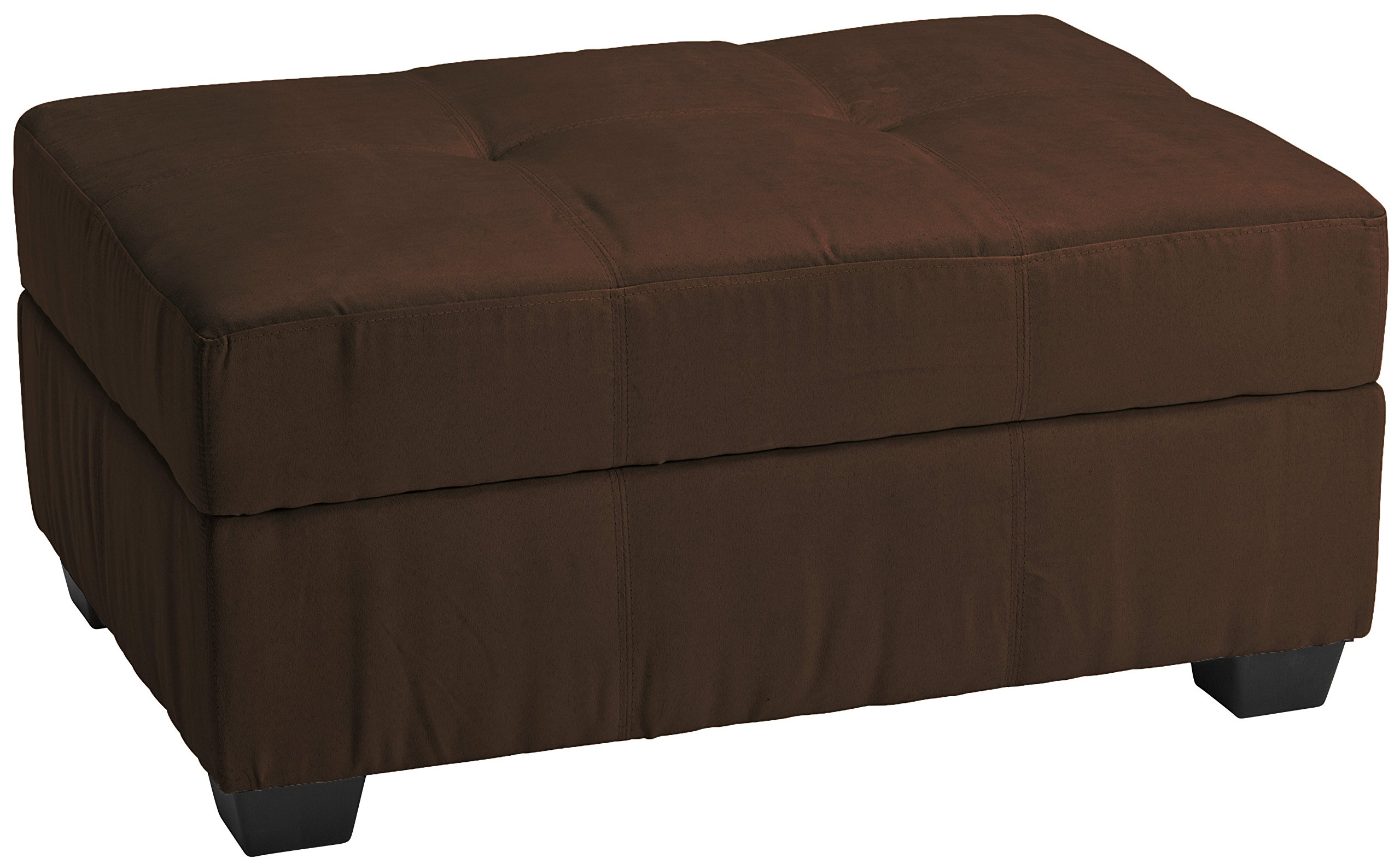 Microfiber Suede Upholstered Tufted Padded Hinged Storage Ottoman Bench, 36 by 24 by 18'', Chocolate Brown
