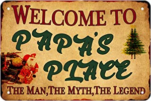 "ANJOOY Retro Metal Tin Signs - Welcome to Papa's Place - Vintage Style Sign Suitable for Cafes Home Bars Garden Family Hotels Door Art Wall Decor 8""X12"""