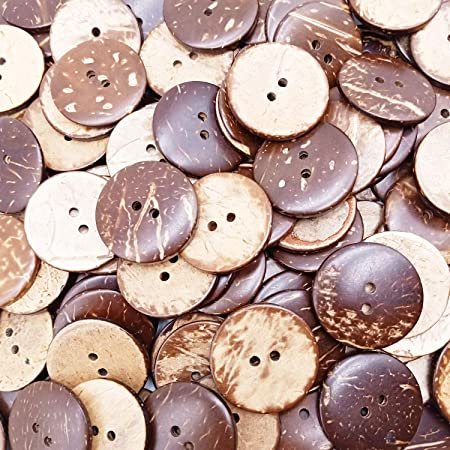 Kbraveo 150pc 1 inch New Thick Coconut Shell 2 Holes Button Coconut Shell Buttons for Crafts Sewing Decorations