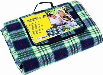 Idena 7570011 - Picknickdecke mit wasserabweisender Rückseite, ca. 170 x 200 cm, XXL, blau - kariert