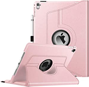 Fintie Case for iPad Pro 9.7-360 Degree Rotating Stand Case with Smart Protective Cover Auto Sleep/Wake Feature for iPad Pro 9.7 Inch (2016 Version), Rose Gold