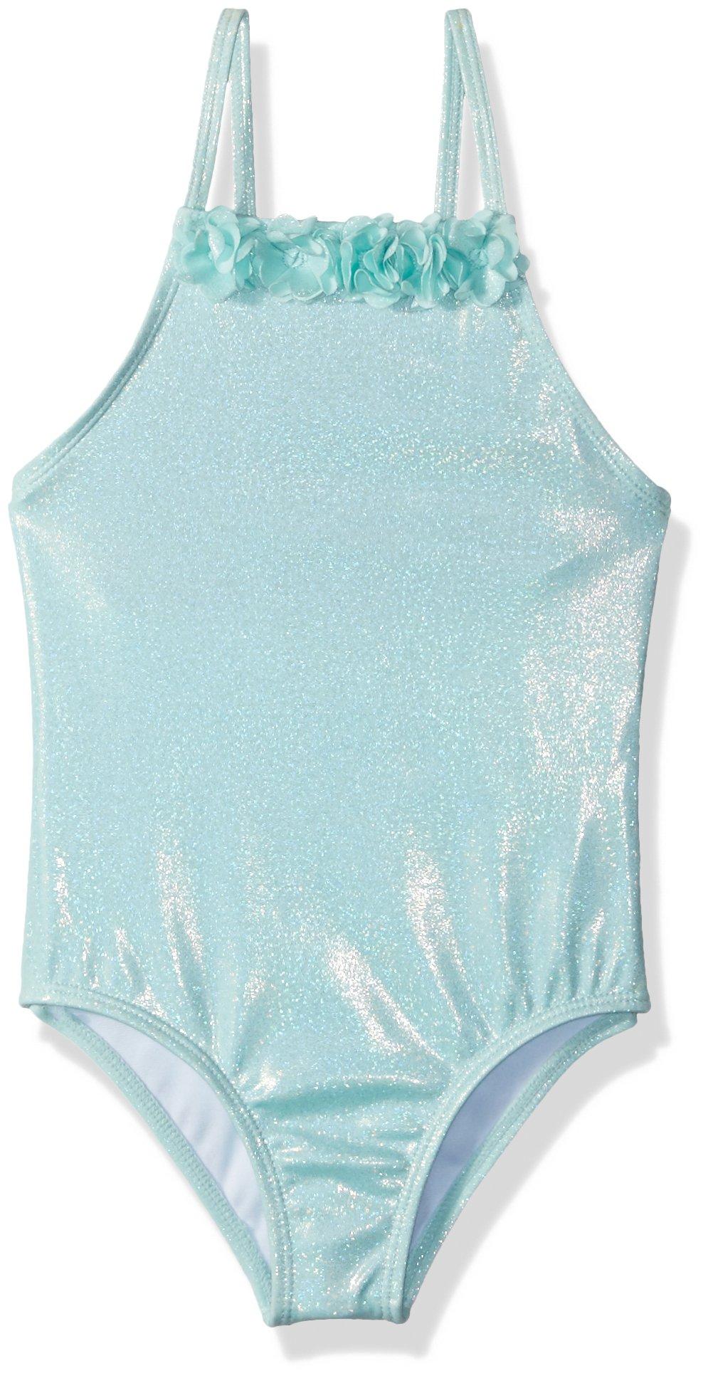 Crazy 8 Toddler Girls' 1-Piece Metallic Swimsuit, Aqua Rosette, 3T