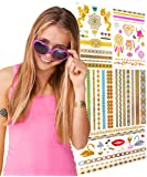 TEMPORARY FLASH TATTOOS FOR GIRLS - 5 Card Pack - 65 Designs - Great Birthday Present And Gift Idea For Girls & Party Favour Idea - Includes Gold, Metallic & Colourful Tattoos.